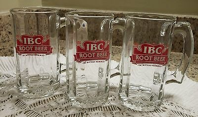 LOT 3 RARE Vintage IBC Root Beer Glass Mugs NEW Advertising Promotional SOUVENIR