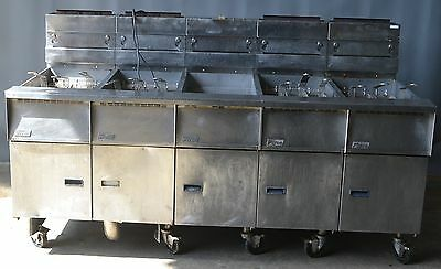 Used Pitco 4 Battery Fryer w/ Dump Station in the Middle nat gas, Free Shipping!