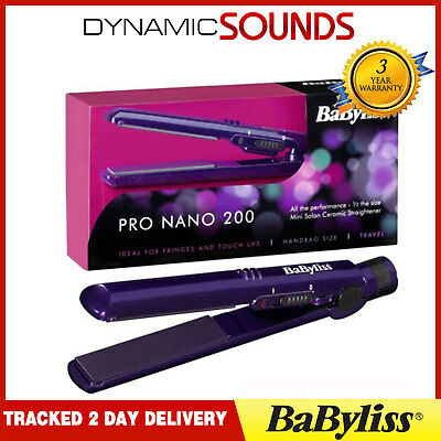 Babyliss 2860BDU Purple Ladies Mini Pro 200 Nano Ceramic Hair Straightener