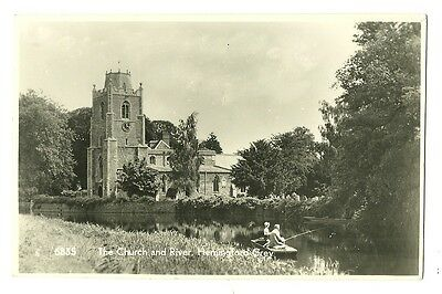 Hemingford Grey - a photographic postcard of the Church and River