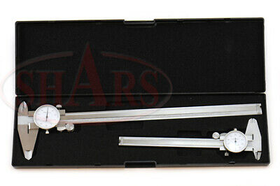 """Shock Proof 6"""" & 12"""" Dial Caliper .001"""" Stainless 4 Way + Inspection Report New"""