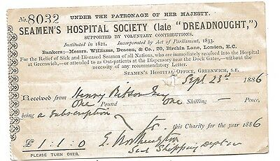 1886 'Seaman's Hospital Society' 'Late Dreadnought' Reciept