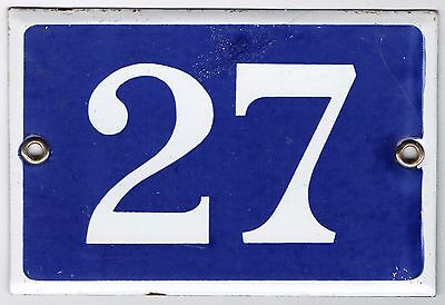 Old blue French house number 27 door gate plate plaque enamel metal sign steel