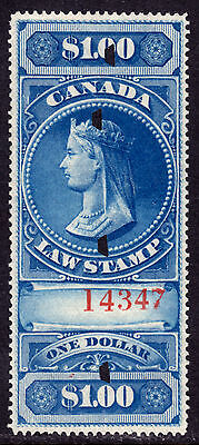 Canada Revenue #fsc5 $1 Blue, 1876 Law Stamp, Vf, Used