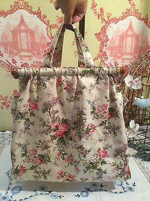 Vintage Knitting Bag for Wool / Needles Shabby Chic Retro Floral Print Fabric