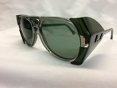 American Optical AO Vintage New Old Stock Safety Glasses Pilot Gray G15 Green