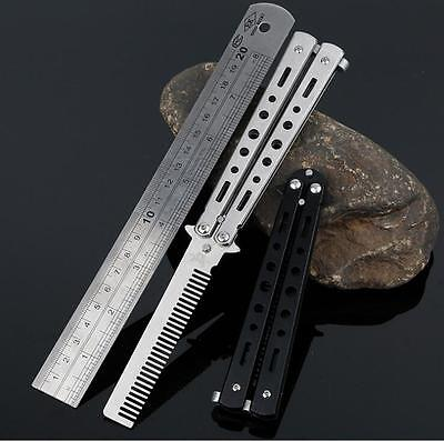 Black Steel Butterfly Balisong Comb Trainer Training Knife