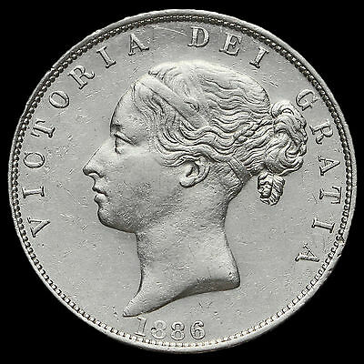 1886 Queen Victoria Young Head Silver Half Crown, EF