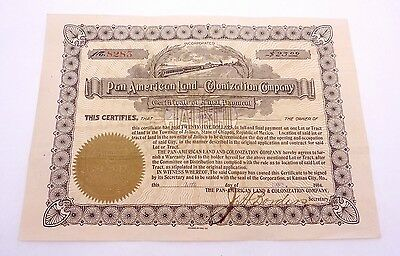 1904 Pan American Land Colonization Company Jalisco Mexico Certificate 23010