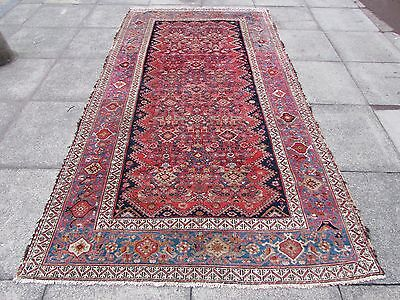 Antique Traditional Hand Made Persian Oriental Wool Red Blue Rug 291x153cm