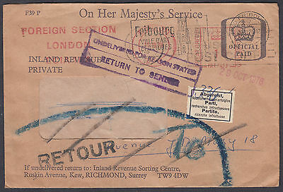 OHMS Official Paid;Foreign Section London;Fribourg,Switzerland; Return to Sender