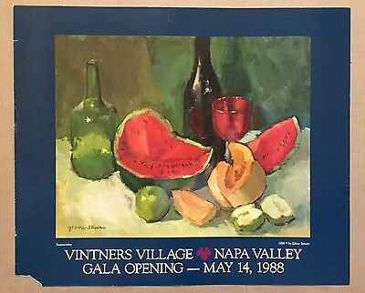 Vintage Original 1988 Vintners Village 'Summertime' Napa Valley Poster Alcohol