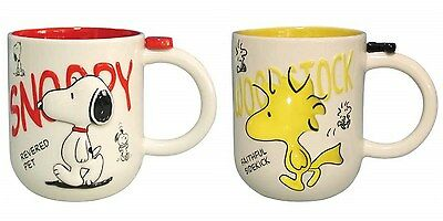 Peanuts 12 oz Ceramic Coffee Mug Set of 2 - Snoopy & Woodstock