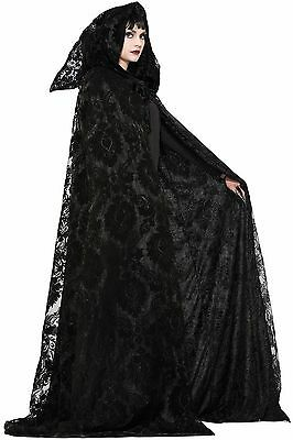 Adult Midnight Cloak Full Length Black Hooded Cape Witch Gothic Cosplay LARP