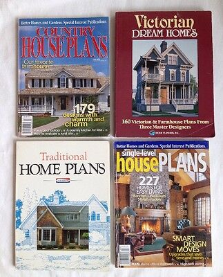 Lot of 4 House Plan Magazines SB Books Country Victorian Traditional Ranch Home