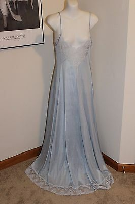 Vintage Silver Blue Nightgown with Lace Gorgeous 1970s Lingerie S/M Nylon