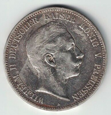 Germany States Prussia 1903 A 5 Mark Wilhelm Ii Imperial Eagle .900 Silver Coin