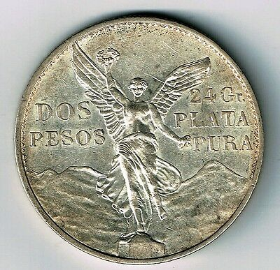 Mexico Independence 1921 2 Peso .900 Silver Coin Winged Victory High Grade Au