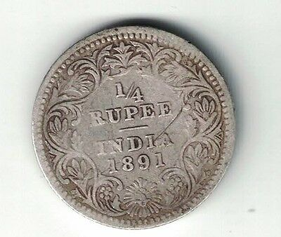 INDIA BRITISH 1891 (c) MINTMARK 1/4 RUPEE VICTORIA .917 SILVER FOREIGN COIN