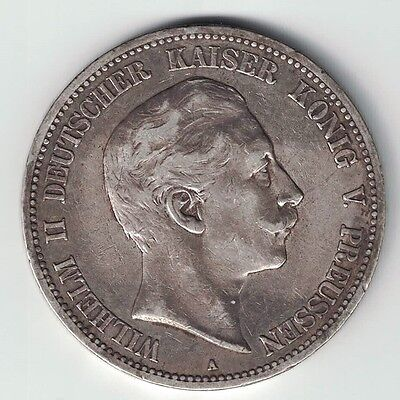 Germany States Prussia 1908 A 5 Mark Wilhelm Ii Imperial Eagle .900 Silver Coin