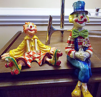 2 Vtg Alvarez Meifiso of Mexico Paper Mache Skating Sitting Hobo Clowns Signed
