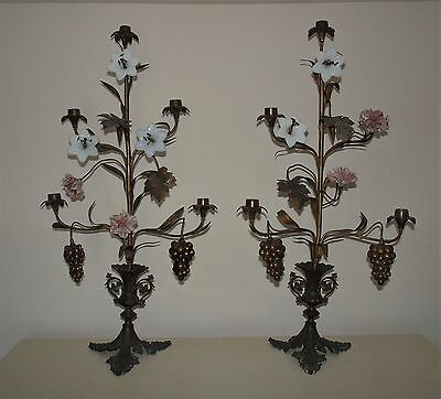 Pair Antique French Bronze Girandoles Candlesticks Candle Holders Candelabra