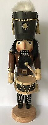 """16-1/4"""" Authentic German Wooden Nutcracker, Drummer - Marked Sn, As Is"""