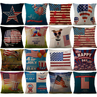 Vintage American Flag Pillow Cases Cotton Linen Sofa Cushion Cover Home Decor US