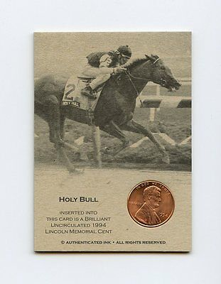 HOLY BULL 1994 Penny HORSE RACING Trade Coin Card RARE