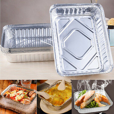 Lot 40 Set Aluminum Foil Trays BBQ Disposable Food Container Baking Pan /W Lids
