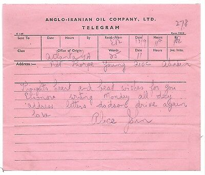 Abadan Oil Company AIOC Telegram Atlanta GA - Pink Copy Sheet