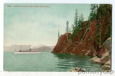 A Steam Yacht Passes Rubicon Point, Lake Tahoe CA 1907 - 1915 Boats Postcard