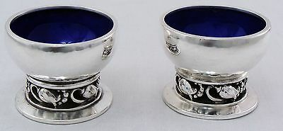 BLOSSOM  by George Jensen a pair of Sterling Silver SALT CELLAR   #2A, No Mono