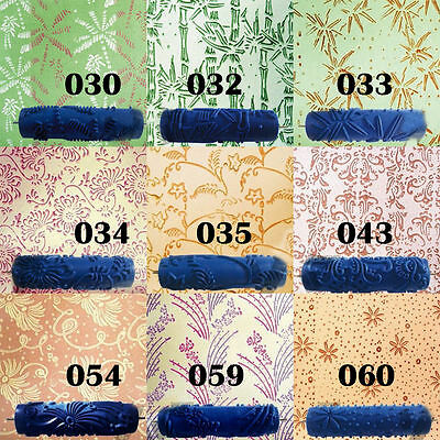 7'' Embossed Paint Roller Case Wall Texture Stencil Brush Flower Pattern Deco