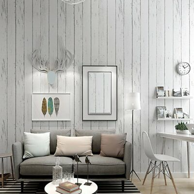 Country Rustic Wood Panel look OFF WHITE striped wallpaper industry wall paper