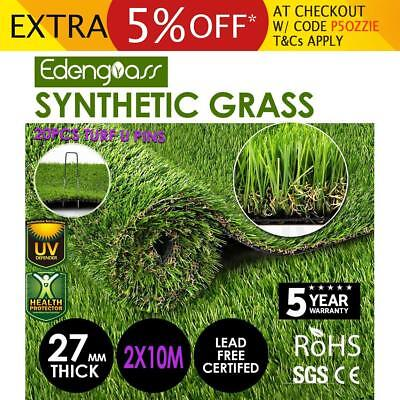 2Mx10M 27mm Artificial Grass Synthetic Turf Fake Flooring Lawn Carpet Plant