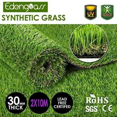 2Mx10M 32mm Artificial Grass Synthetic Turf Fake Flooring Lawn Carpet Plant