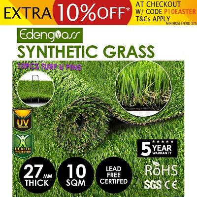 10SQM Artificial Grass Synthetic Turf Plastic Plant Fake Lawn Flooring 27mm