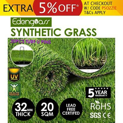 20SQM Artificial Grass Synthetic Turf Plastic Plant Fake Lawn Flooring 32mm