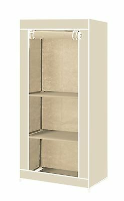 Vinsani Single Canvas Clothes Wardrobe Hanging Rail With Storage Shelves - Cream