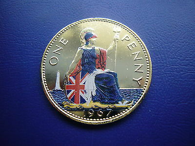 Elizabeth Ii Gold Plated 1967 Penny Coin Enamelled