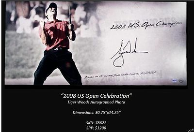 """Tiger Woods UDA Autographed Signed Beautiful 14""""X30"""" Photograph 2008 Us Open"""