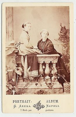 Italy cabinet photograph, NAPOLI, Two society ladies by G. ARENA
