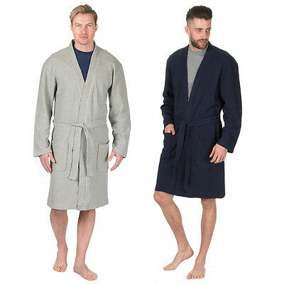 Mens Pierre Roche Cotton Rich Plain Waffle Robe / Dressing Gown