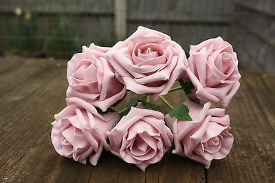 36 x VINTAGE DUSKY PINK LUXURY COLOURFAST FOAM ROSES 6cm WEDDING FLOWERS