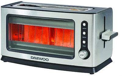 Daewoo Branded 2 Bread Slice Glass Toaster - Defrost, Reheat and Bagel Functions
