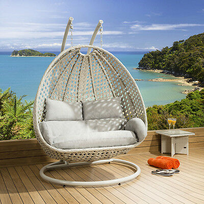 Luxury Outdoor 2 Person Garden Pod Hanging Chair Swing Stone Grey New