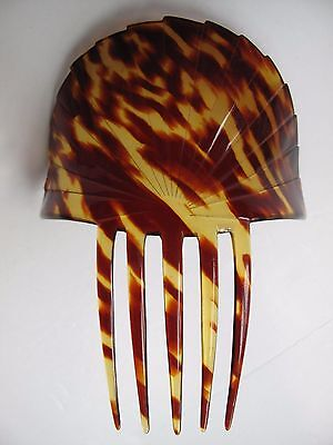 LARGE VINTAGE FAUX TORTOISESHELL COMB with FAN TOP
