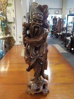 Antique Carved Chinese Table Lamp Figurine  C1890