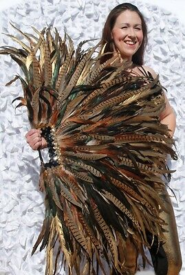 """Showgirl Burlesque Feather FAN Tiger Golden/Pheasant Feather Huge 32"""" by 40"""" NEW"""